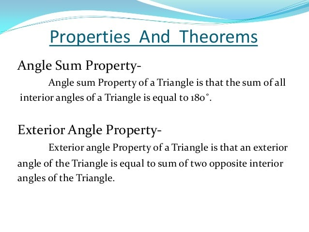 Triangles - The exterior angle of a triangle is equal to ...