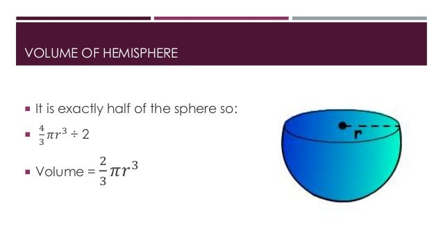 how to find the volume of a half sphere