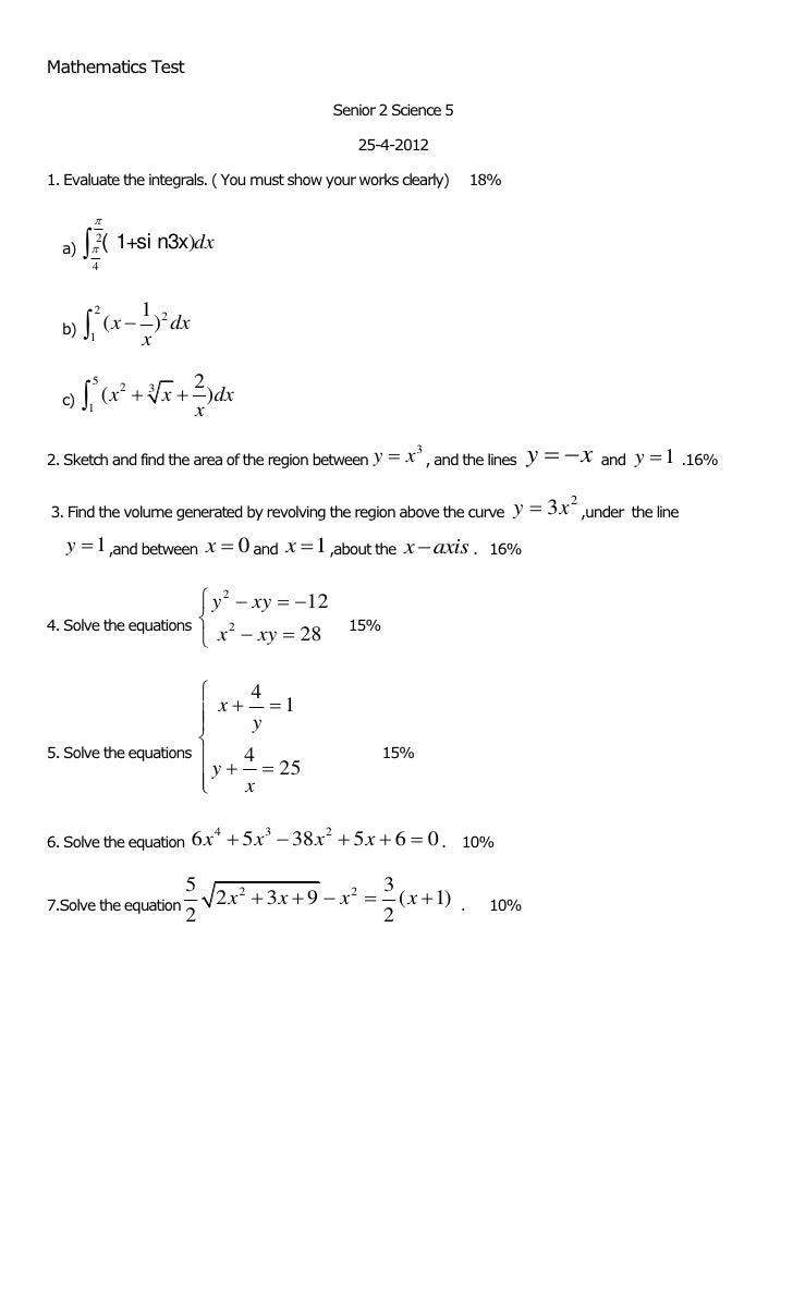 Mathematics Test                                               Senior 2 Science 5                                         ...