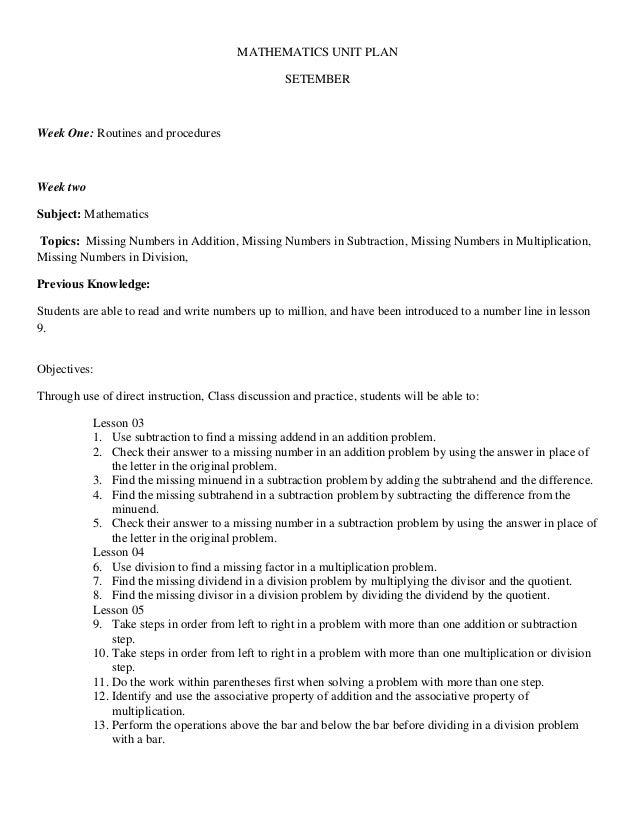 MATHEMATICS UNIT PLAN                                                   SETEMBERWeek One: Routines and proceduresWeek twoS...