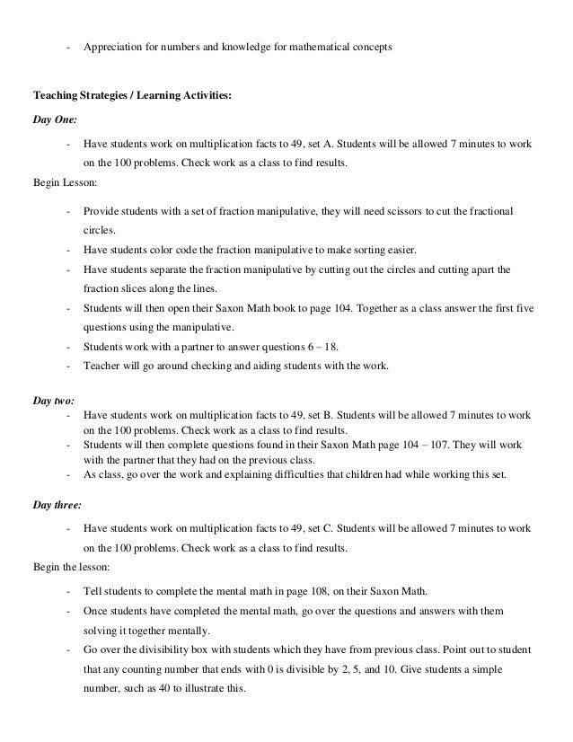 Mathematics unit plan std. 5
