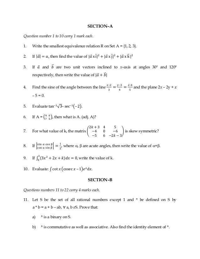 Mathematics 2014 Sample Paper And Blue Print