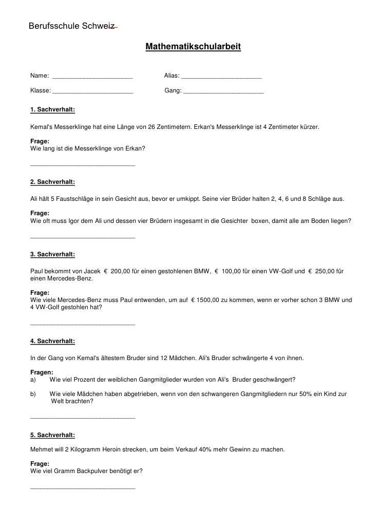 Berufsschule Schweiz Hauptschule Köln Chorweiler                                             Mathematikschularbeit   Name:...