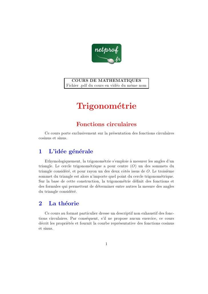 COURS DE MATHEMATIQUES                 Fichier .pdf du cours en vid´o du mˆme nom                                         ...