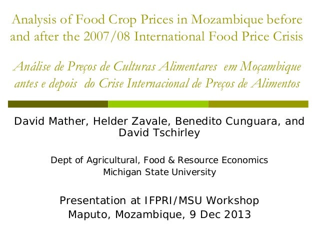 Analysis of Food Crop Prices in Mozambique before and after the 2007/08 International Food Price Crisis