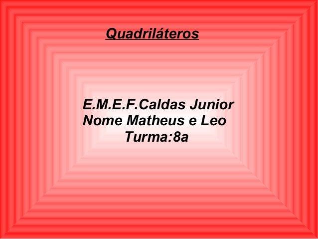 E.M.E.F.Caldas JuniorNome Matheus e LeoTurma:8aQuadriláteros