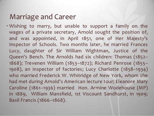 Marriage and Career• Wishing to marry, but unable to support a family on the  wages of a private secretary, Arnold sought ...