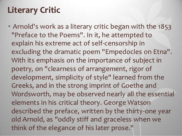 essays in criticism matthew arnold summary Matthew arnold essays in criticism summary matthew arnold wikipedia, matthew arnold (24 december 1822 15 april 1888) was an english poet and cultural critic who worked as an inspector of.
