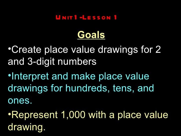 Unit 1-Lesson 1 <ul><li>Goals </li></ul><ul><li>Create place value drawings for 2 and 3-digit numbers </li></ul><ul><li>In...