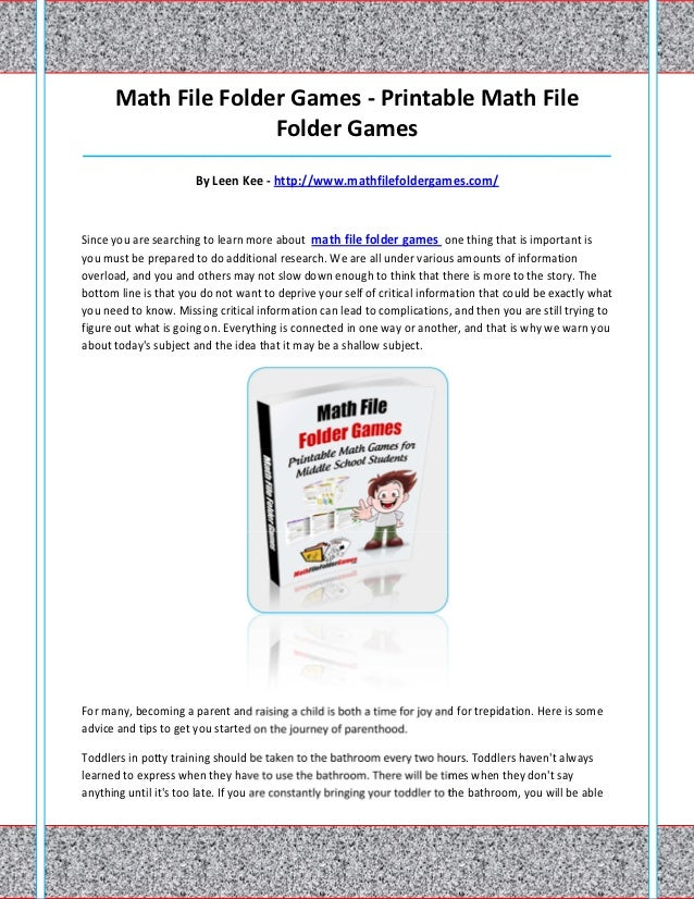 Math File Folder Games - Printable Math File                     Folder Games_____________________________________________...