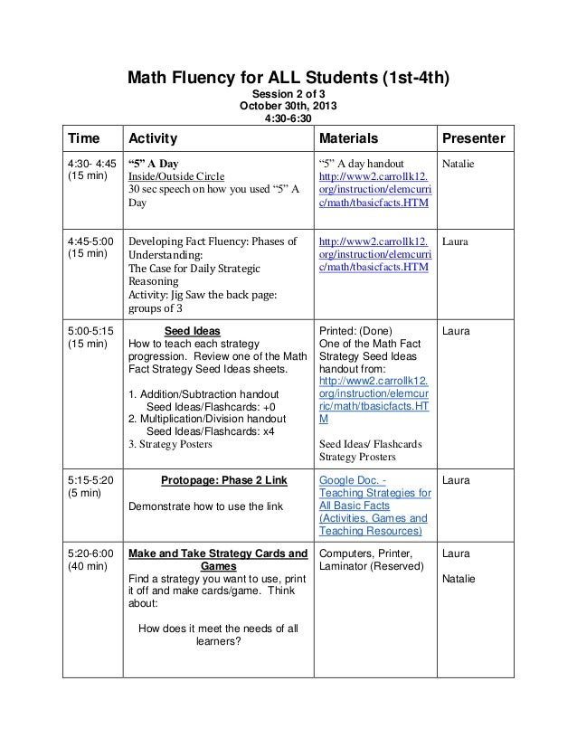 Math Fluency for ALL Students (1st-4th) Session 2 of 3 October 30th, 2013 4:30-6:30  Time  Activity  Materials  4:30- 4:45...