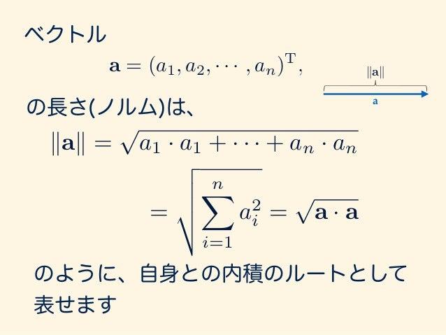 ここで余弦定理を思い出します。 kb ak2 = kak2 + kbk2 2kakkbk cos ✓
