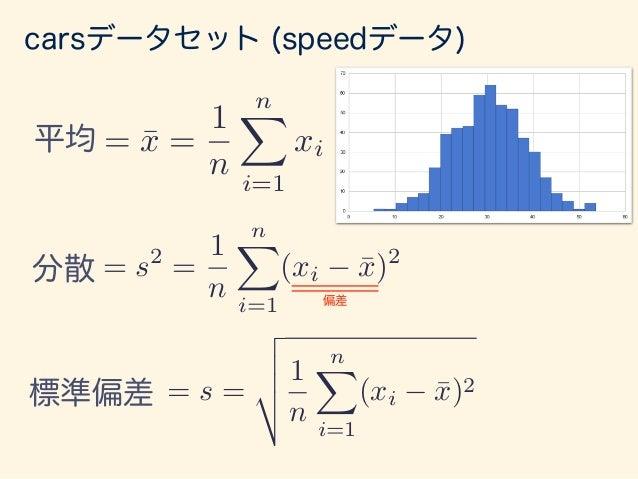 標準偏差 = s = v u u t 1 n nX i=1 (xi ¯x)2 carsデータセット (speedデータ) = ¯x = 1 n nX i=1 xi平均 = s2 = 1 n nX i=1 (xi ¯x)2 分散 各データ平均から...
