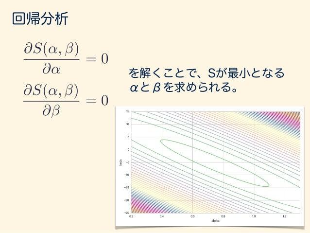 回帰分析 前ページの計算を解くと、 ˆ↵ = ¯y ˆ¯x となる。 ˆ = P (xi ¯x)(yi ¯y) P (xi ¯x)2