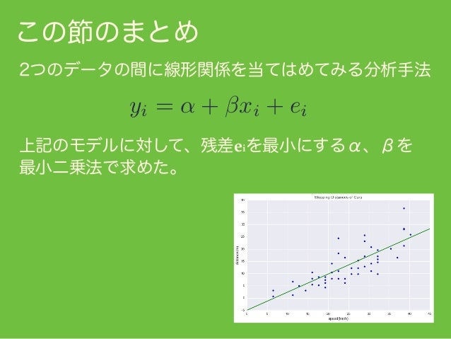 傾きに相当する はベクトル x'に掛けあわせると ベクトル y' の射影の長さと同じベクトルになる、と 捉えることができた。 この節のまとめ x' y' θ = x0 /kx0 k ˆ ˆx = ky0 k cos ✓/kx0 k x スカラ ...