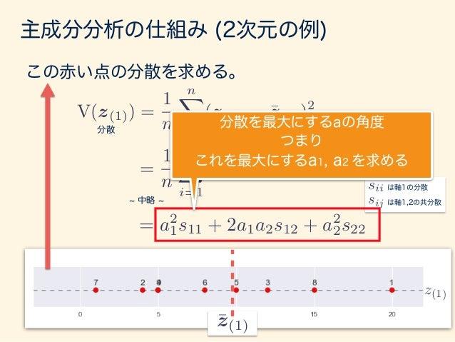 主成分分析の仕組み (2次元の例) = a2 i s11 + 2a1a2s12 + a2 2s22 ただし、 は、ベクトル が長くなればなるほど大きくなるので、 長さは1 a kak2 = 1 という制約をつける。 以上より・・・