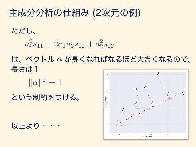 主成分分析の仕組み (2次元の例) 主成分分析は以下の条件つき最大化問題として解く。 s.t. kak2 = 1 max a2 1s11 + 2a1a2s12 + a2 2s22 条件つき最適化問題 「ラグランジュの未定乗数法」で解く