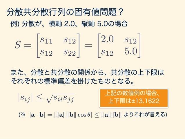 分散共分散行列の固有値問題? 例) 分散が、横軸 2.0、縦軸 5.0の、共分散0の場合 S =  s11 s12 s12 s22 =  2.0 0 0 5.0 (1, 0) (0, 1) (2, 0) (0, 5)