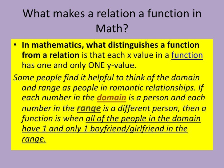 what is the function of the This seems like an odd definition but we'll need it for the definition of a function (which is the main topic of this section) however, before we actually give the definition of a function let's see if we can get a handle on just what a relation is.