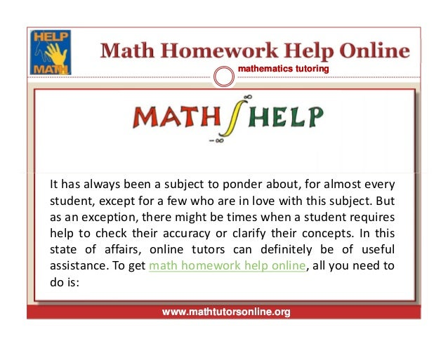 Maths homework help online