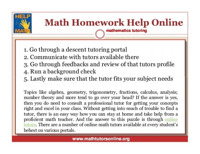 Math homework help online tutor