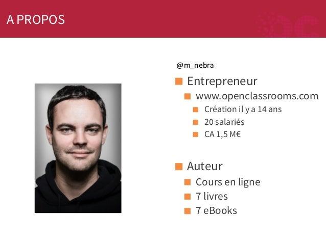 A PROPOS @m_nebra    ! Entrepreneur ! www.openclassrooms.com ! ! !  Création il y a 14 ans 20 salariés CA 1,5 M€  ! Aute...