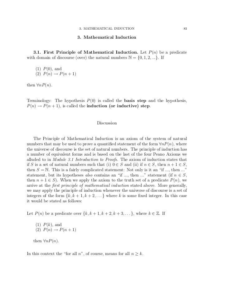 3. MATHEMATICAL INDUCTION                                 83                             3. Mathematical Induction   3.1. ...
