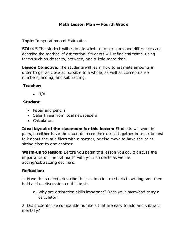 Kindergarten Math Lesson Reflection - kindergarten math lesson ...