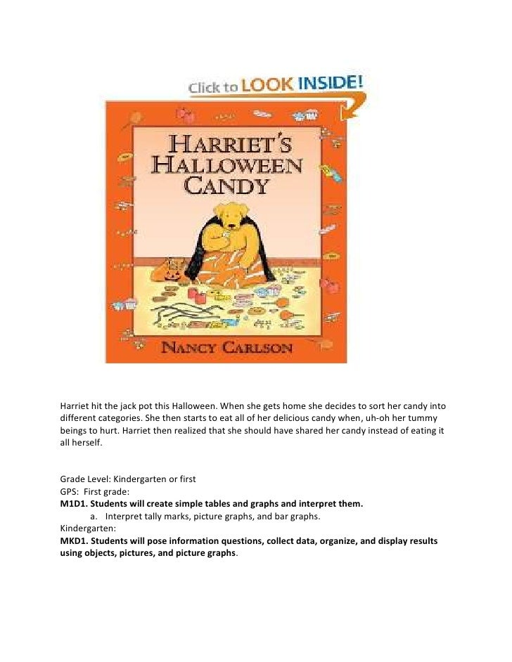 Harriet hit the jack pot this Halloween. When she gets home she decides to sort her candy into different categories. She t...