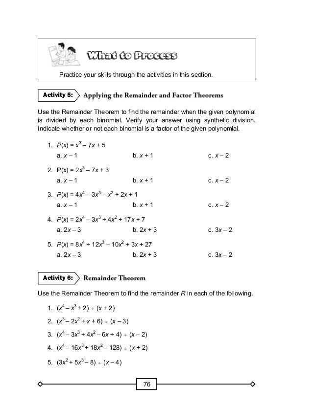 The Remainder Theorem Worksheet Advanced Functions Remainder – The Remainder Theorem Worksheet