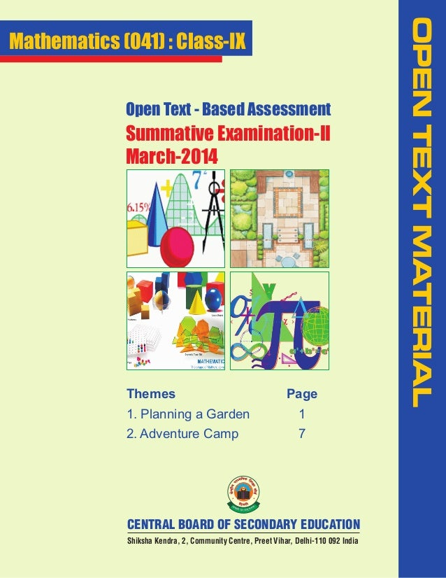 Open Text - Based Assessment  Summative Examination-II March-2014  Themes  Page  1. Planning a Garden  1  2. Adventure Cam...
