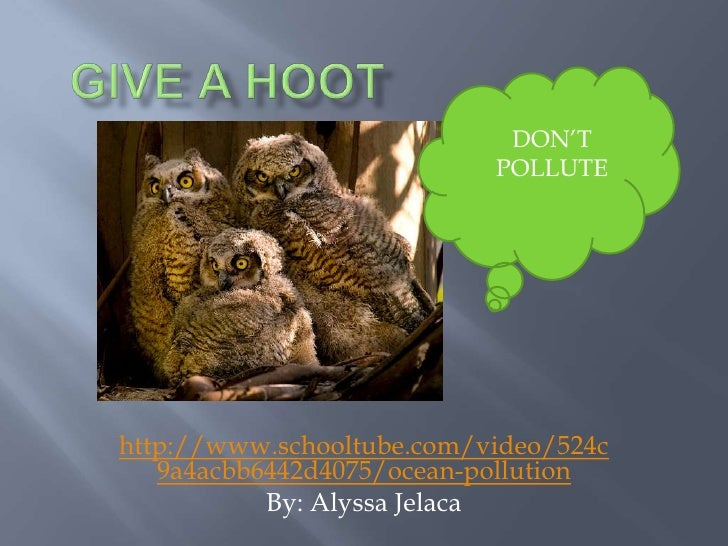 Give a hoot<br />DON'T<br />POLLUTE<br />http://www.schooltube.com/video/524c9a4acbb6442d4075/ocean-pollution<br />By: Aly...