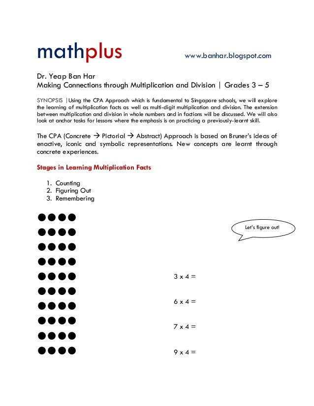 mathplus www.banhar.blogspot.com Dr. Yeap Ban Har Making Connections through Multiplication and Division | Grades 3 – 5 SY...