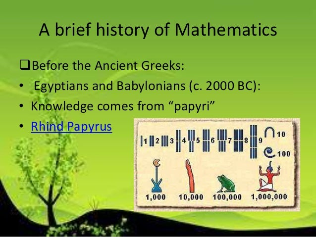 Mathematics(History,Formula etc.) and  brief description on S.Ramanujan. Slide 3