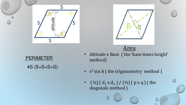 how to find area of rhombus with perimeter and altitude