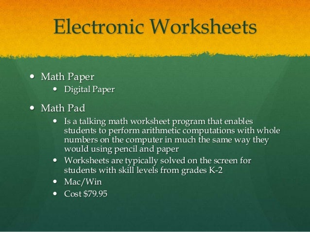 Math prez – Electronic Math Worksheets