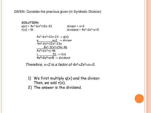 Long division, synthetic division, remainder theorem and factor theor…