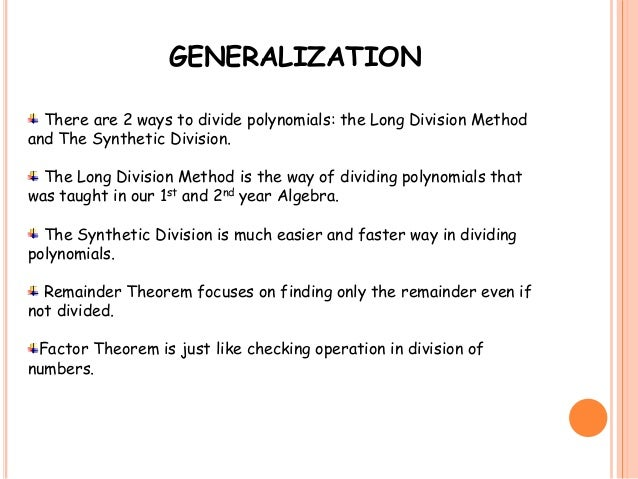 Long division synthetic division remainder theorem and factor theor 13 ccuart Images