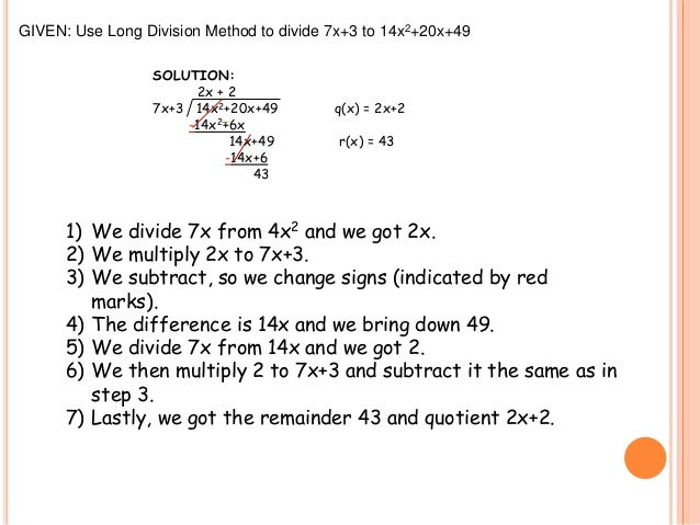 Long division synthetic division remainder theorem and factor theor 6 ccuart Images