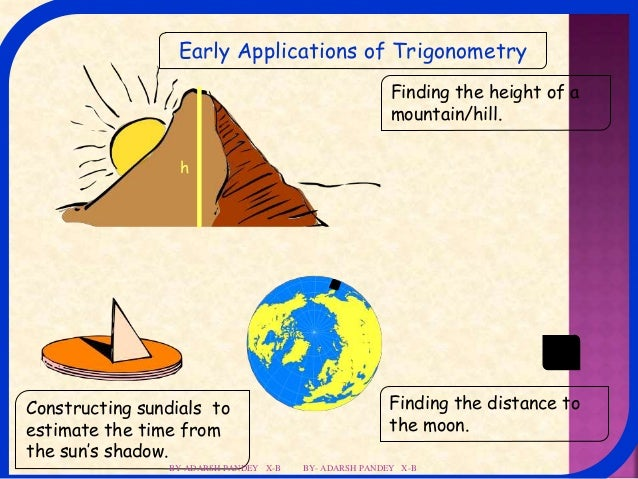 applications of trigonometry Trigonometric functions of any angle θ' in terms of angle θ in quadrant i  applications to trigonometry, the unit circle is centered at the origin.