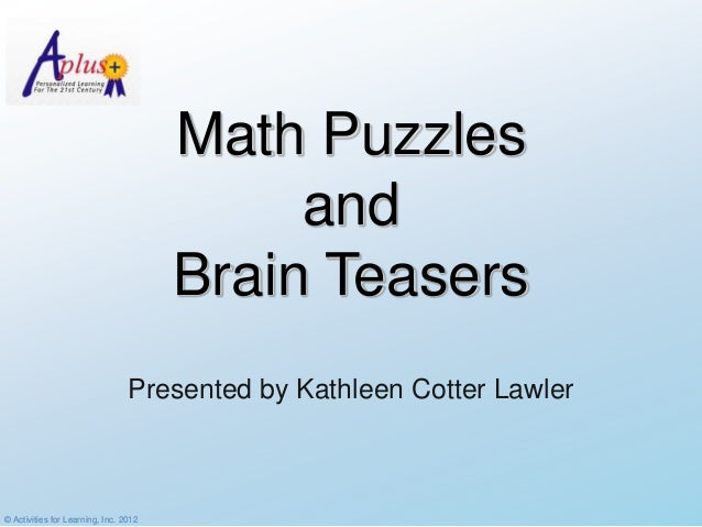 Math Puzzles                                            and                                       Brain Teasers           ...
