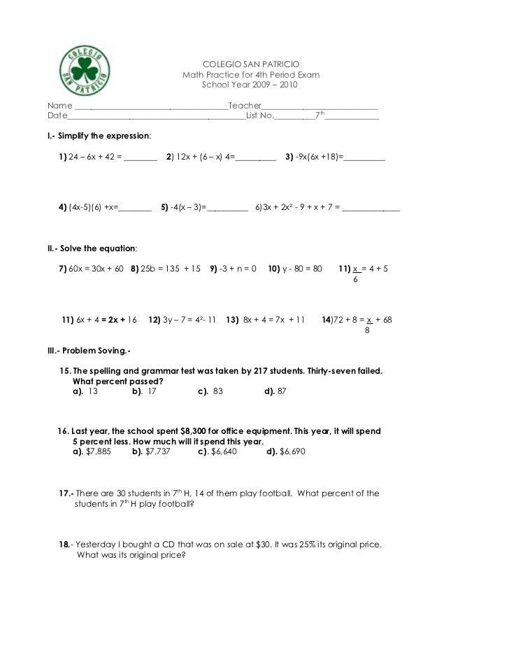 COLEGIO SAN PATRICIO                                     Math Practice for 4th Period Exam                                ...