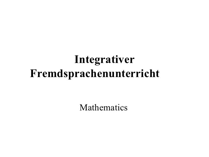 Integrativer Fremdsprachenunterricht   Mathematics