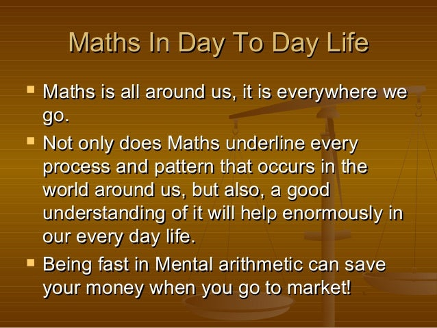 Maths In Day To Day Life