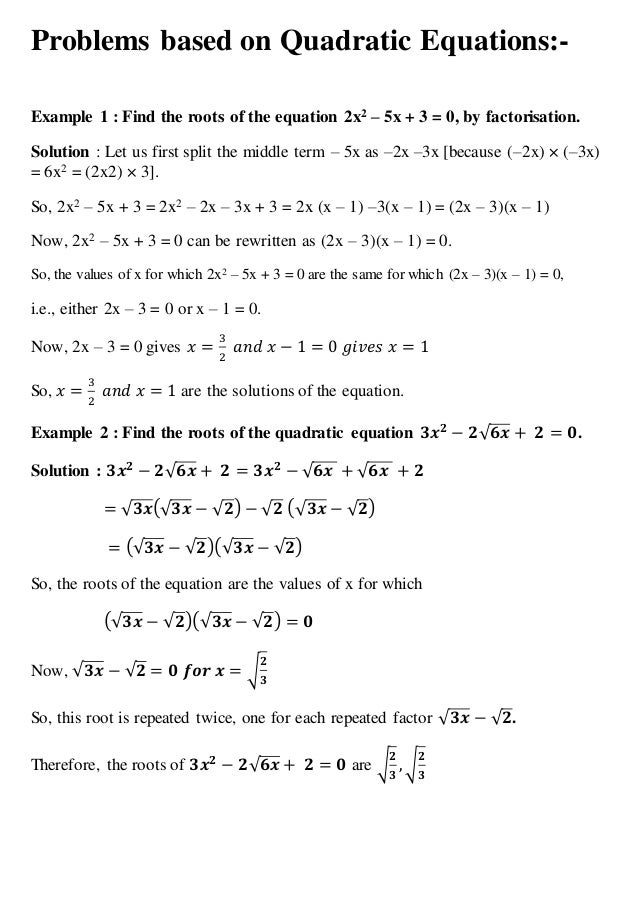 quadratic equation word problems worksheet with answers Termolak – Quadratic Formula Word Problems Worksheet Answers