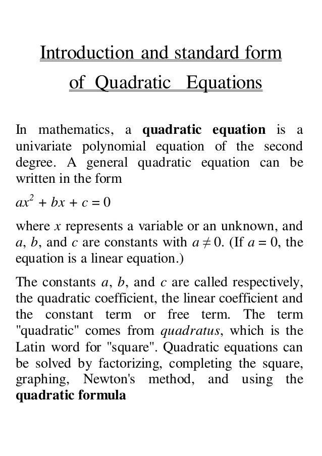 Maths Project Quadratic Equations