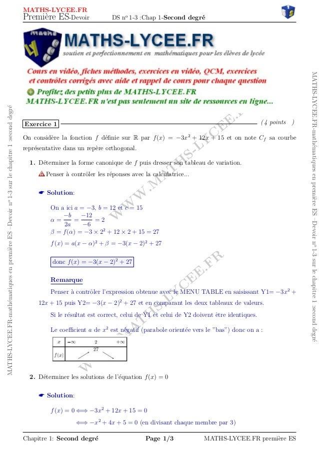 WWW.MATHS-LYCEE.FR  WWW.MATHS-LYCEE.FR  MATHS-LYCEE.FR-mathematiques en premiere ES {Devoir no 1-3 sur le chapitre 1 :seco...