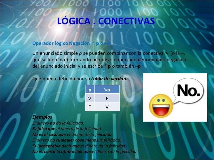 LÓGICA . CONECTIVAS Un enunciado simple  p  se pueden combinar con la conectiva ∿  (o la  ¬ , que se leen 'n o' ) formando...