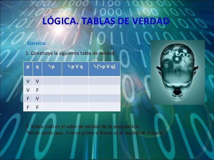 LÓGICA. TABLAS DE VERDAD 1. Construye la siguiente tabla de verdad Ejercicio 2. Indica cuál es el valor de verdad de la pr...