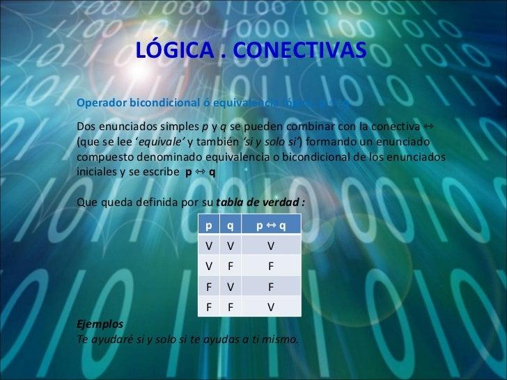 LÓGICA . CONECTIVAS Dos enunciados simples  p  y  q  se pueden combinar con la conectiva ⇿  (que se lee ' equivale'  y tam...